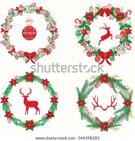 Merry Christmas Happy New Year Christmas Wreath Banner Rustic Vector ...