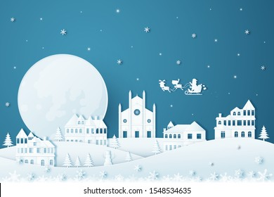 Merry Christmas and Happy New Year.Illustration of  Holiday landscape in the winter and Santa Claus on the sky.