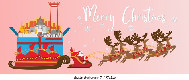 merry christmas and happy new yearillustration of santa claus with thailand landmarks in gift