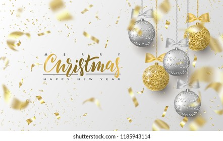 Merry Christmas and Happy New Year.Trendy background for holiday greeting card, invitation, party flyer, poster, banner. Silver, gold, shiny tree balls and confetti. Vector illustration