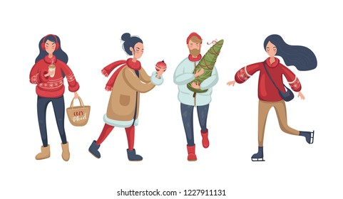 Merry Christmas. Happy peoples, print design. Set of funny peoples. Happy New Year! Vector illustration EPS 10