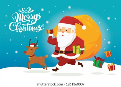 Merry Christmas happy Santa Claus running and carrying big gift bag with reindeer in snow scene. Cartoon Vector Illustration.