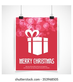 Merry Christmas and Happy Winter background celebration typography with presents and gift box. Vector illustration.