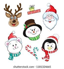 Merry Christmas head Santa Claus, penguin, polar bear, rudolph, snowman