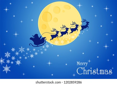 Merry Christmas. Ho Ho Ho Santa and reindeer Through the moon to give gifts to children on Christmas Eve.