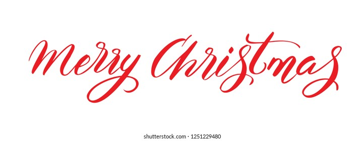 Merry Christmas. Holiday Calligraphy. Hand lettering brush.
