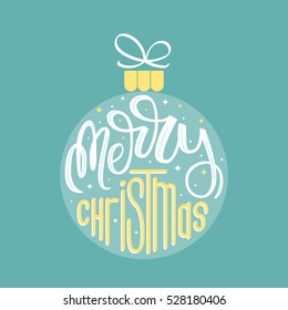 Merry Christmas. Holiday card with ornament and hand lettering. Vector illustration