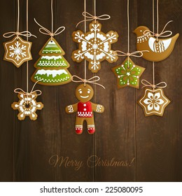 Merry christmas holiday decoration background with ginger man snowflakes and tree cookies vector illustration