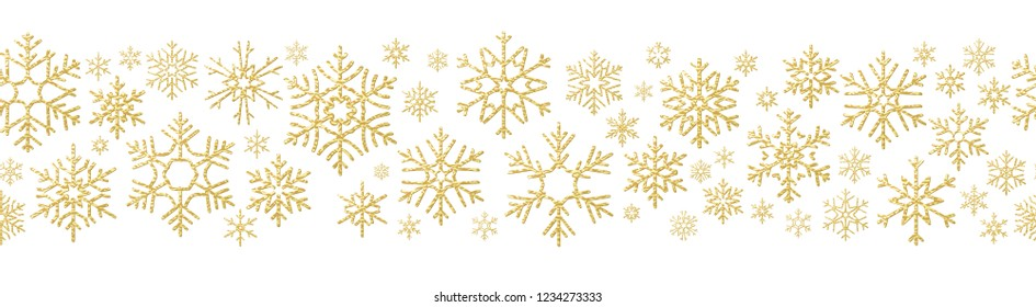 Merry Christmas holiday decoration effect. Golden snowflake seamless pattern. EPS 10