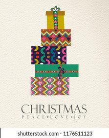 Merry Christmas holiday folk art card illustration. Scandinavian style gift box pile, traditional geometric shapes in festive colors. EPS10 vector.