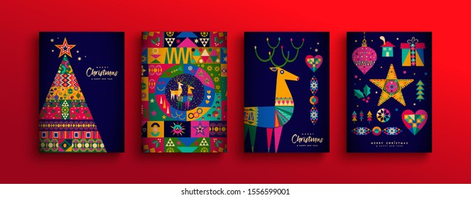 Merry Christmas holiday folk art card collection. Template set of scandinavian style xmas tree, reindeer and traditional geometric shapes in festive colors.