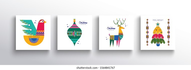 Merry Christmas holiday folk art card collection. Template set of scandinavian style dove bird, reindeer and traditional geometric shapes in white background.