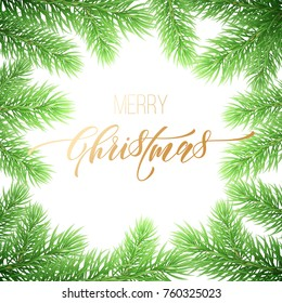 Merry Christmas holiday golden hand drawn quote calligraphy greeting card background template. Vector Christmas fir tree branch garland wreath decoration, golden font text on white premium design
