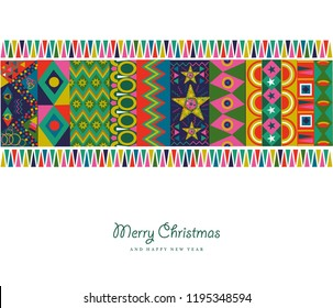 Merry Christmas holiday greeting card illustration. Abstract bohemian folk style decoration with colorful geometric shapes in festive colors. EPS10 vector.
