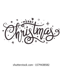 Merry Christmas Holiday Greetings Card with Handwritten Text on White Background Vector EPS