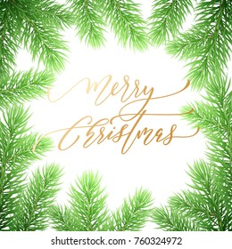 Merry Christmas holiday hand drawn quote golden calligraphy greeting card background template. Vector Christmas tree fir or pine wreath branch decoration on white premium design