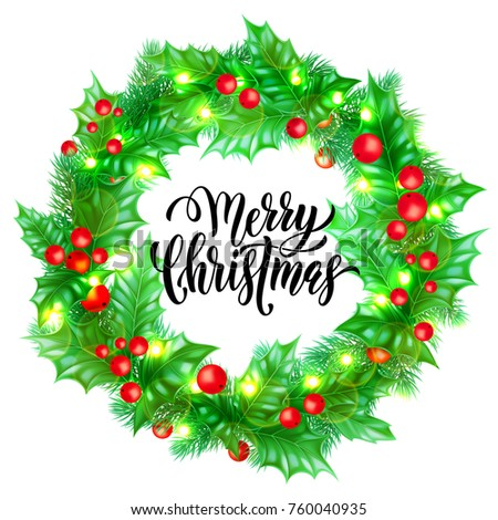 Merry Christmas Holiday Hand Drawn Quote Stock Vector Royalty Free