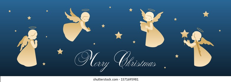 Merry Christmas holiday horizontal banner with cute little angels with stars isolated on a blue background. Vector stock illustration