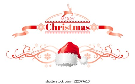 f08465c2e32b3 Merry Christmas holiday horizontal banner isolated on white background.  Text lettering. Vector logo illustration