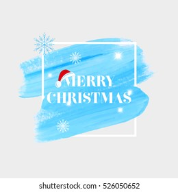 'Merry Christmas' holiday sign text over abstract blue brush paint background vector illustration.