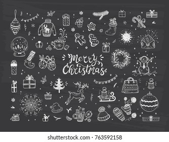 Merry Christmas. Holiday Vector Big Set of Hand Drawn Doodle Christmas decorations with hand lettering calligraphic. Xmas greeting Card Template. Happy Winter Holidays poster. New year