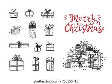 Merry Christmas. Holiday Vector Set of Hand Drawn Doodle Christmas and New Year Gift boxes with hand lettering calligraphic. Xmas greeting Card Template. Happy Winter Holidays poster