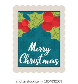 merry christmas holly berry and snowflakes background decoration stamp icon vector illustration