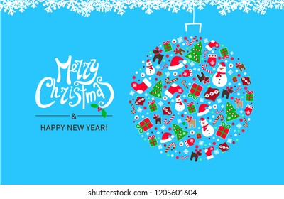 Merry Christmas. Holyday's background with typography and elements