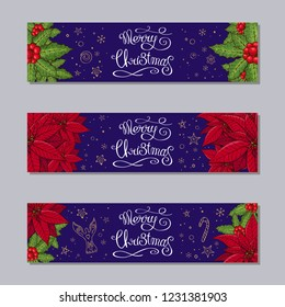 Merry Christmas horizontal banners set with traditional homeplant poinsettia and holly plant. Retro style. New year season design. Green, red, purple color, hand drawn. Vector illustration.