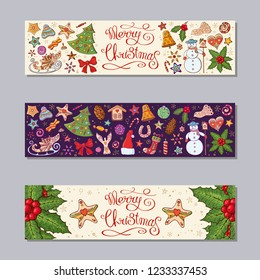 Merry Christmas horizontal banners set with festive elements and symbols, traditional homeplant mistleto. Retro style. New year season design. Hand made lettering. Hand drawn. Vector illustration.