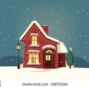 Merry Christmas house. Cartoon vector illustration. Happy new year banner. Vintage style. Greeting card. Nature. Winter time.