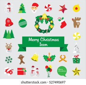 Merry Christmas icon, Merry Christmas card, Happy new year, Greeting card, Invitation card, Set of flat Christmas icon, Christmas tree vector illustration.