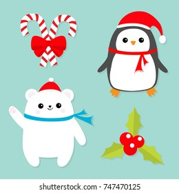 Merry Christmas icon set. Candy Cane stick with red bow. Penguin bird, white polar bear cub wearing Santa Claus hat, scarf. Holly berry Mistletoe. Flat design. Blue background. Vector illustration