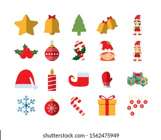 merry christmas icon set pack, High Quality variety symbols Vector illustration