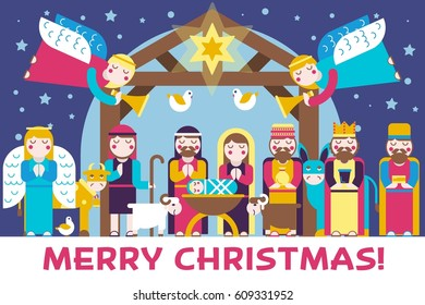Merry Christmas icons flat set background. Vector birth of Christ illustration background concept.