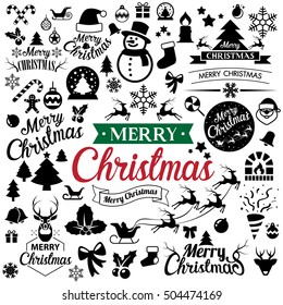 Merry Christmas  icons set.Christmas Badge and Labels ,Vector eps10