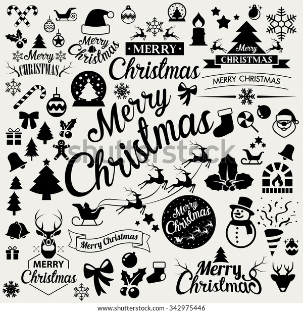 Merry Christmas  icons set.Vector eps10