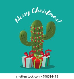 Merry Christmas illustration with cartoon cactus and gifts. EPS 10 vector.