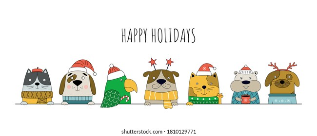 Merry Christmas illustration with cats, dogs, parrot and hamster. Christmas banner for pet shop web site.