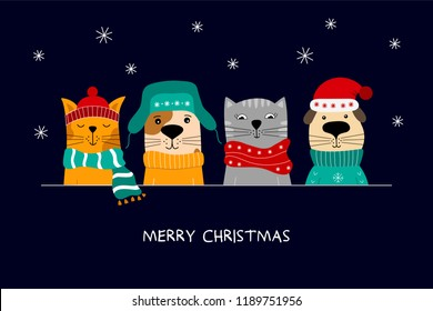Merry Christmas illustration of cute cats and funny dogs.