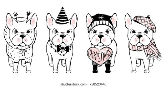 Merry Christmas illustration with funny dog. Hand drawn vector french bulldog puppy. Happy holidays template. Cartoon animal.
