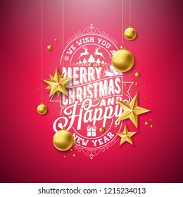 Merry Christmas Illustration with Gold Glass Ball, Star and Typography Elements on Red Background. Vector Holiday Design for Greeting Card, Party Invitation or Promo Banner.