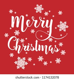 Merry Christmas illustration: handwritten lettering text and snowflakes on red bright background. Festive and bright christmas greeting