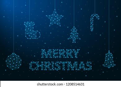 Merry Christmas illustration made by points and lines, polygonal wireframe mesh, Christmas decorations. Holiday card or banner. Vector.