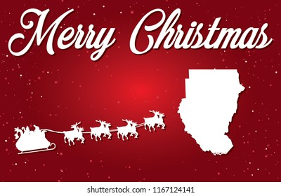 A Merry Christmas Illustration with Santa landing in the Country of Sudan
