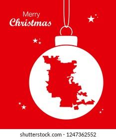 Merry Christmas illustration theme with map of Stockton California