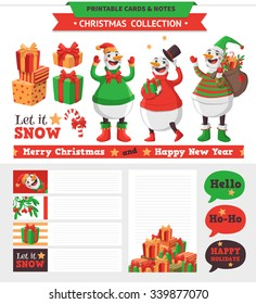 Merry Christmas illustration. Vector printable cards, notes and stickers with snowman, gifts and etc.
