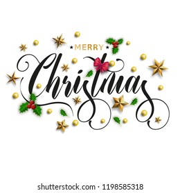 Merry Christmas inscription decorated with gold stars, beads and mountain ash. Vector illustration.