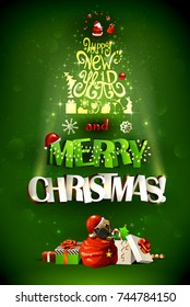 Merry Christmas inscription and Happy New Year