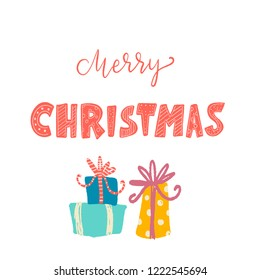 merry Christmas inscription lettering unique colored font with pattern, gifts with bows